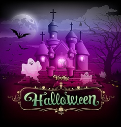 Happy halloween castle ghost on the moon design vector image vector image