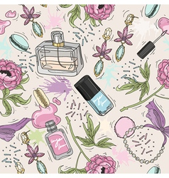 Seamless beauty pattern with make up perfume vector image vector image
