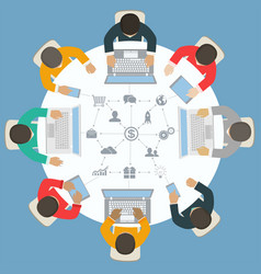 teamwork for roundtable business strategy of vector image vector image