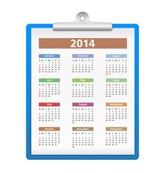 Clipboard with 2014 Calendar vector image vector image