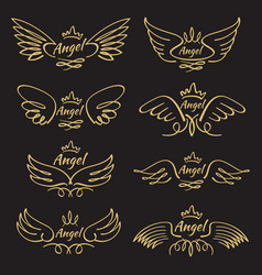 elegant angel golden flying wings on black vector image vector image