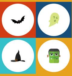 flat icon halloween set of phantom witch cap vector image