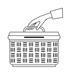 hand with basket vector image