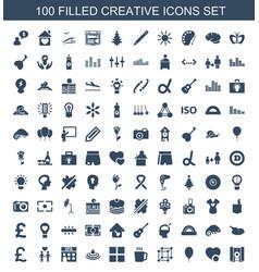 100 creative icons vector