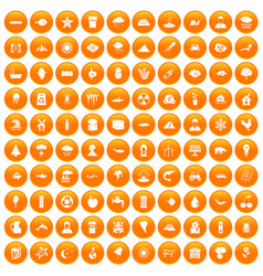 100 earth icons set orange vector