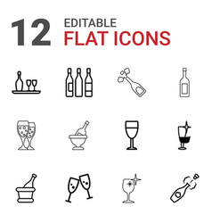 12 wineglass icons vector image