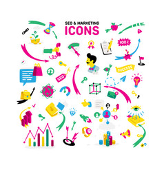 a set icons on theme ceo and marketing vector image