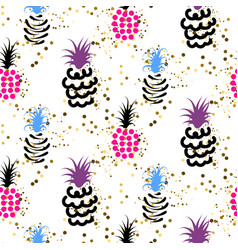 Abstract pineapple with gold glitter bright colors vector