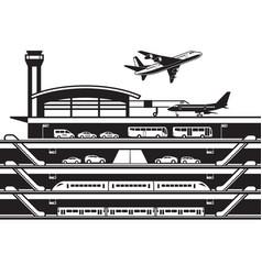 airport transportation hub vector image