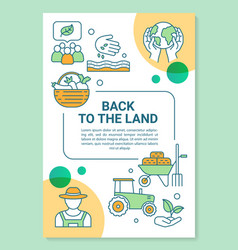 Back to land poster template layout vector