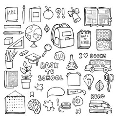back to school education items hand drawn doodle vector image