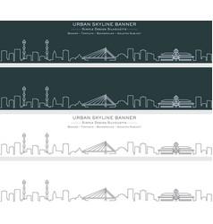bandung single line skyline banner vector image