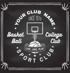 basketball club badge on the chalkboard vector image