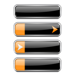 black buttons with orange tags menu interface vector image