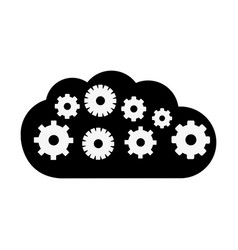 Black contour cloud with gears inside icon vector