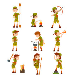 Boy scouts set boys in scout costumes with hiking vector