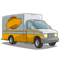 cartoon freight transportation yellow cargo truck vector image