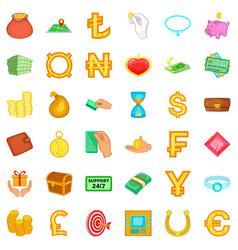 cash icons set cartoon style vector image