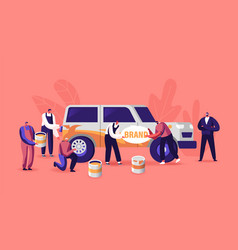 Characters painting car making airbrushing change vector