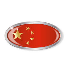Chinese flag oval button vector