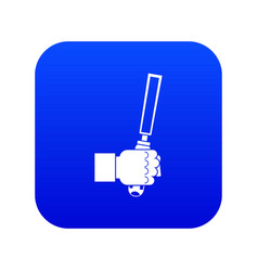 Chisel tool in man hend icon digital blue vector