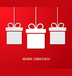 christmas paper card with hanging gift boxes vector image