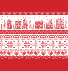 Christmas pattern with winter wonderland town vector