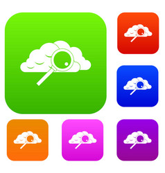 cloud with magnifying glass set collection vector image