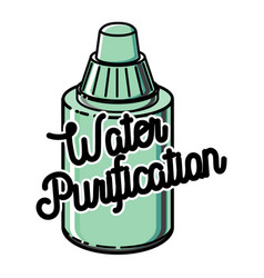 Color vintage water purification emblem vector