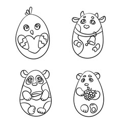 coloring page set of 4 cute animals in a shape of vector image