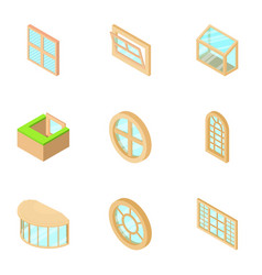 country house window icons set isometric style vector image