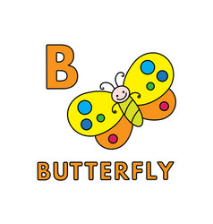 Cute cartoon animals alphabet butterfly vector