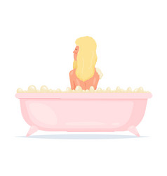 Cute sexy blonde girl is take a bath in pink vector