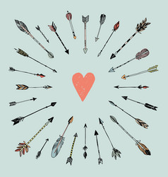 decorative arrows and heart vector image