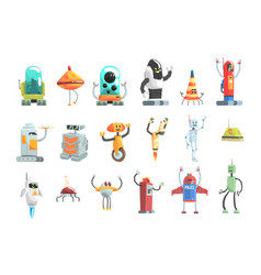 different design public service robots set of vector image