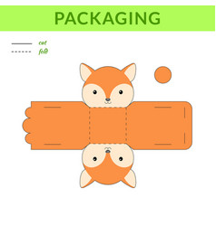 Diy party favor fox box for birthdays baby vector