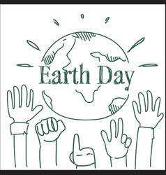 earth day poster design with hands raised to vector image