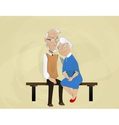 Elderly couple embracing sitting on bench vector