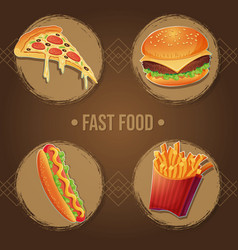 fast food menu eating set vector image