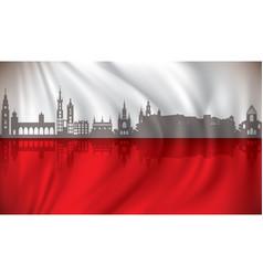 Flag of poland with krakow skyline vector