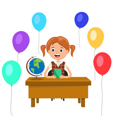 Girl sitting at a desk in the classroom vector