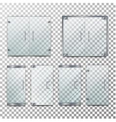 Glass door transparent front for office vector