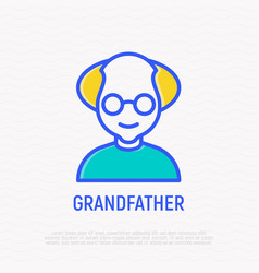 grandfather in glasses thin line icon vector image