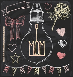 Hand Drawn Chalk Mothers Day Set vector image