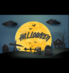 happy halloween spooky paper art background with vector image