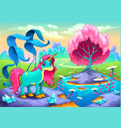 Happy unicorn in a landscape of dreams vector