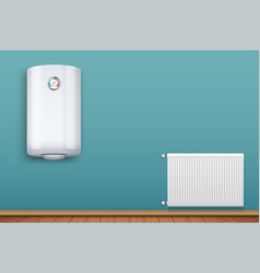 Heating radiator and boiler in room vector