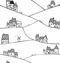 hills and houses vector image