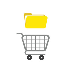 icon concept of shopping cart with opened file vector image