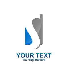 Initial letter s logo template colored blue grey vector